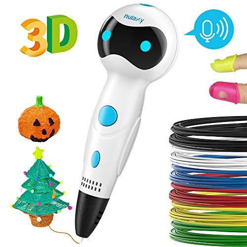 Nulaxy Pluma Impresión 3D, Bolígrafo de impresión 3D, bolígrafo 3D para niños y Adultos, bolígrafo 3D Profesional con filamento, Juego de bolígrafos Inteligentes 3D para Dibujar graffitis en 3D