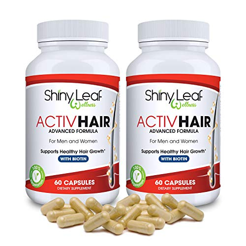 ActivHair DHT Blocker Hair Growth Supplement with Saw Palmetto, Zinc, Biotin, 60 Veggie Capsules, Prevent Hair Loss, Stimulate Follicles, for Hair Thickening and Regrowth by Shiny Leaf (2 Months)