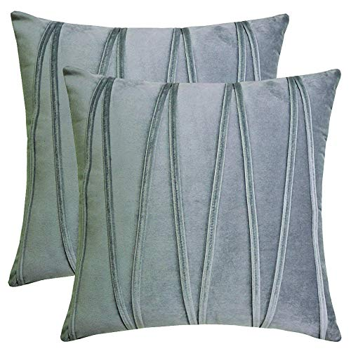 Throw Pillow Cover Pack 2 acogedoras Fundas cojín cuadradas Decorativas con Cremallera Oculta 18 x 18 Pulgadas para sofá Dormitorio (Gris)