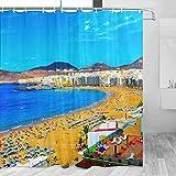Spain Roque Nublo Las Palmas Gran Canaria Cortina de ducha Viaje Cuarto de Baño Decoración Set Con Ganchos Poliéster 72x72 Pulgadas (YL-05415)