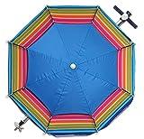 Sombrilla Playa/Jardín Ø 200 cm Antiviento, mástil Aluminio, Parasol para terraza, Altura Ajustable, Jardín, Camping Piscina, Inclinable Plegable 360° Giratoria antiviento (Multicolor)