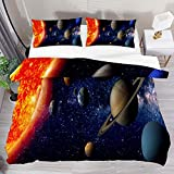 Juego de funda de edredón individual sistema solar espacio exterior planeta 2 piezas juego de funda de edredón funda de edredón 1 fundas de almohada 1 funda de edredón
