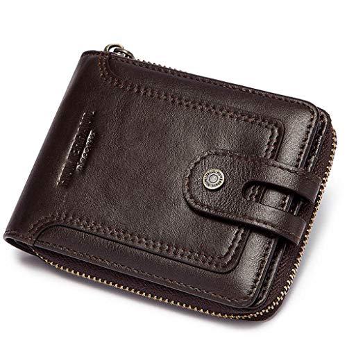 Bingxue RFID Bifold Herren Geldbörse Rindsleder Reißverschluss rund Vintage Reise Multi Kartenhalter Geldbörse