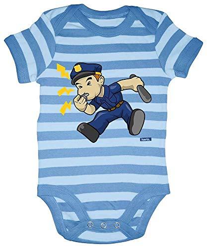 Hariz Baby Body Rayas Policía Silbato Laut Polizei Witizg Plus Tarjeta de regalo azul marino azul cielo azul 6-12 meses