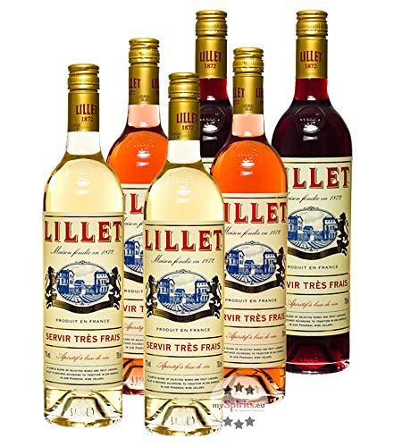 Lillet 6er Mischpaket je 2 x Lillet Blanc, Rouge, Rose / 17% Vol. / 6 x 0,75 Liter-Flasche