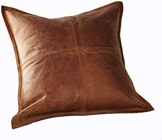 Leather Lovers 100% Lambskin Leather Pillow Cover - Sofa Cushion Case - Decorative Throw Covers for Living Room & Bedroom - Antique Brown Pack of 1