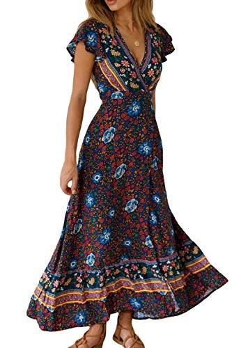 Vestido Mujer Bohemio Largo Verano Playa Fiesta Floral Manga Corta Cuello en V Talla Split Wrap Maxi Vestidos 1 S