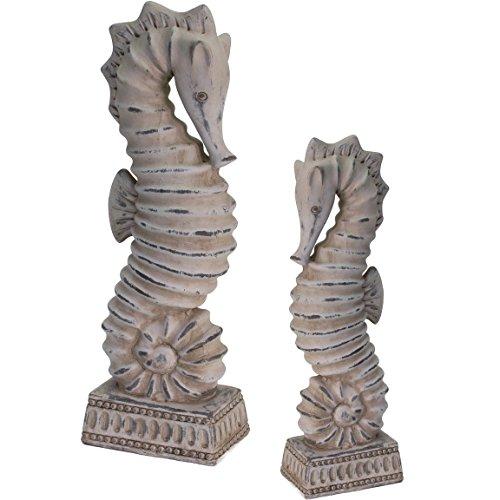 Bada Bing 2er Set Dekofigur Seepferdchen Keramik Skulptur Beton Optik Badezimmer Deko Maritim Hochwertig 2 Größen 19/49