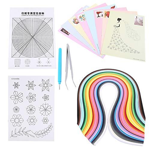 HEEPDD Papier Quilling Kits, 6 teiliges Quilling Werkzeug Set mit 50 Farben, 500 Streifen, Schlitzstift, Pinzette, Blumenmuster 8 Quilling-Zeichnungen für Anfänger, Kinder, Erwachsene