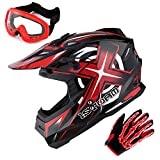 1Storm Adult Motocross Helmet BMX MX ATV Dirt Bike Helmet Racing Style Glossy Red; + Goggles + Skeleton Red Glove Bundle