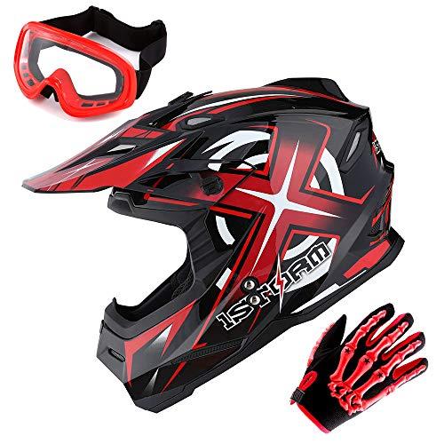 Product Image 2: 1Storm Motocross Adult Helmet BMX MX ATV Dirt Bike Helmet Racing Red + Goggles + Skeleton Red Glove Bundle