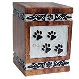 Handicrafts House Decorative Wooden Urns for Dog Ashes, Natural Wood Cremation Urn with Paw Engraving  Pet Funeral Keepsake, Cat Memorial Box, Burial Casket 135 cu/in (Medium)
