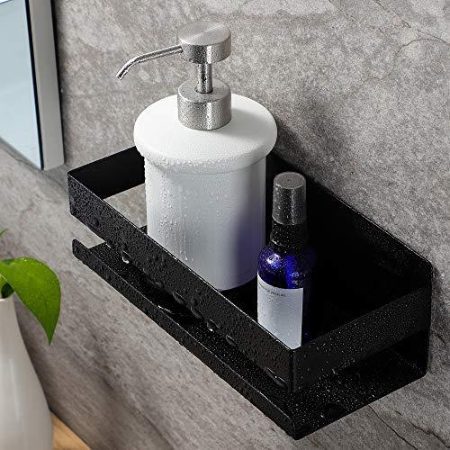 RUICER Estantería para ducha sin taladrar, de acero inoxidable, autoadhesiva, para cuarto de baño, color negro