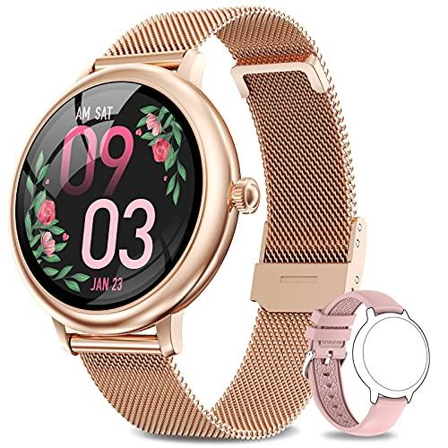 AIMIUVEI Smartwatch Damen,Fitness Tracker IP68 Wasserdicht Smart Watch mit Aktivitätstracker Schlafmonitor,Sportuhr Fitnessuhr Pulsuhren Schrittzähler Uhr für iOS Android Handy Orange