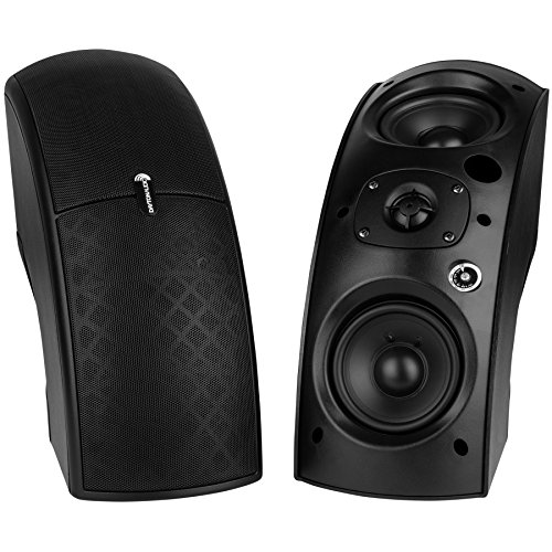 Dayton Audio QS204-4 Quadrant 70V / 100V Indoor/Outdoor Speaker Pair with 4 Ohm Bypass - Black