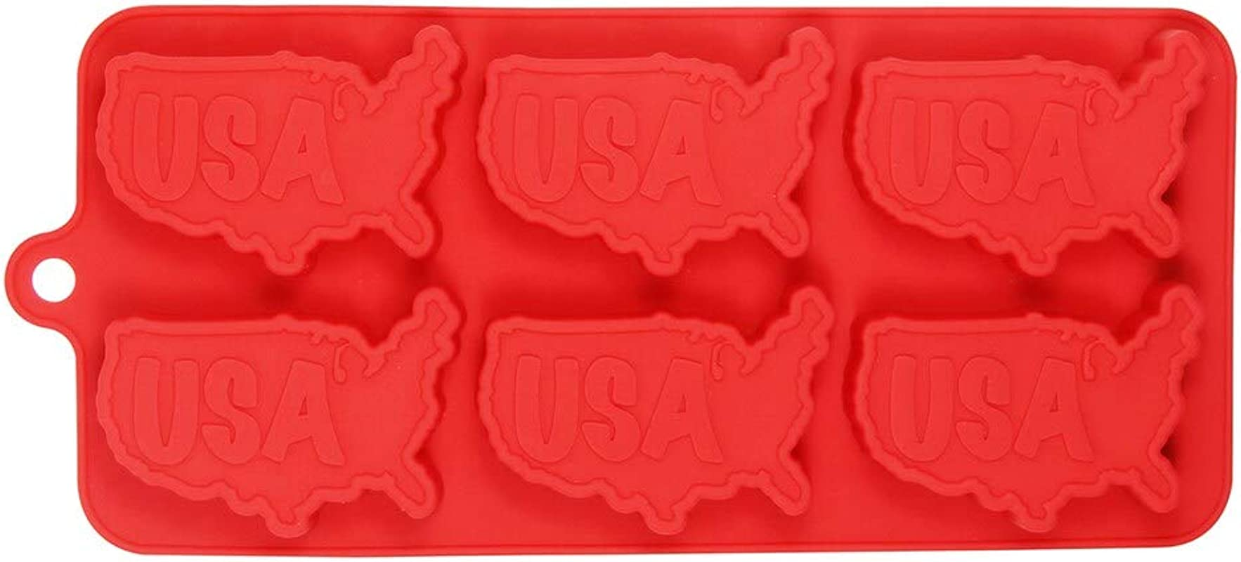 USA Shaped 6 Cavity Baking Mold Patriotic Silicone Baking Tray