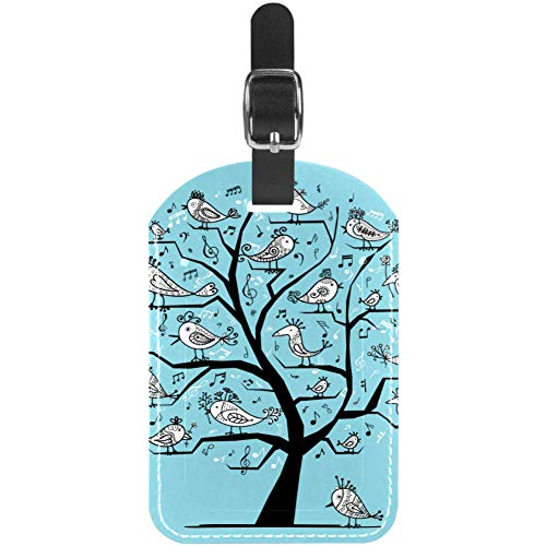 Etiquetas de equipaje de piel con diseño de pájaros cantando en árbol,...