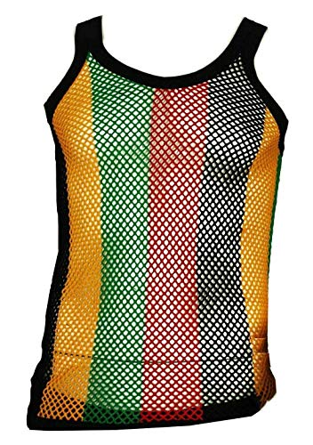 Clossy London 100% Cotton Rasta String Vest Mesh Fishnet Fitted Striped Black Red Green Yellow Colours (M)
