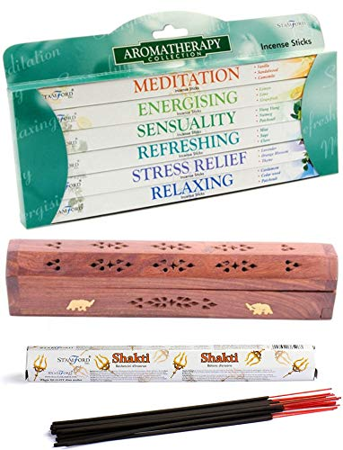 Stamford - Juego de incienso para aromaterapia (incluye caja de incienso de madera de Sheesham)