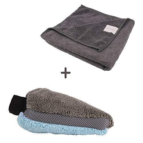 Bonorum Mikrofaser-Handschuh & Mikrofaser-Tuch - Set für Autowäsche & Autopflege - Ultra Weich & Saugstark (1er Set)