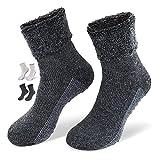 NewwerX 2 Paar Socken mit ABS-Antirutsch-Beschichtung - Home-Socken mit feinster Wolle & Alpaka-Wolle (Anthrazit, 43-46)