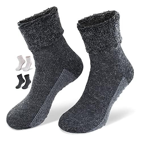 NewwerX 2 Paar Socken mit ABS-Antirutsch-Beschichtung - Home-Socken mit feinster Wolle und Alpaka-Wolle (Anthrazit, 35-38)