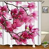 FANYIZHIJIA Rosa Pfirsichblüte Duschvorhang , Stoff Stoff Badezimmer Dekor Set Mit Haken, Verschiedene Größen, Pink 180 * 180Cm