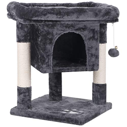 BEWISHOME Cat Tree Cat House Cat Condo with Sisal Scratching Posts Plush Perch Cat Tower Furniture Cat Bed Kitty Activity Center Kitten Play House Grey MMJ08B