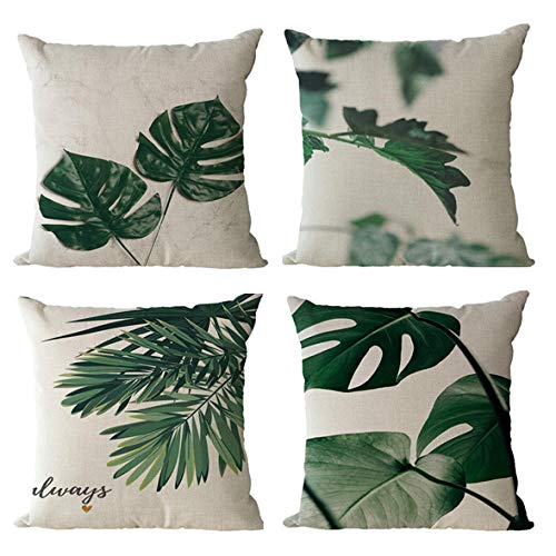 GenericBrands Throw Pillow Cover Green leaves Throw Pillow Covers Decorative Cushion Cover for Soft, Home, Bedroom, Indoor or Out Door Pillowcase 18 x 18 Inches (Set of 4)