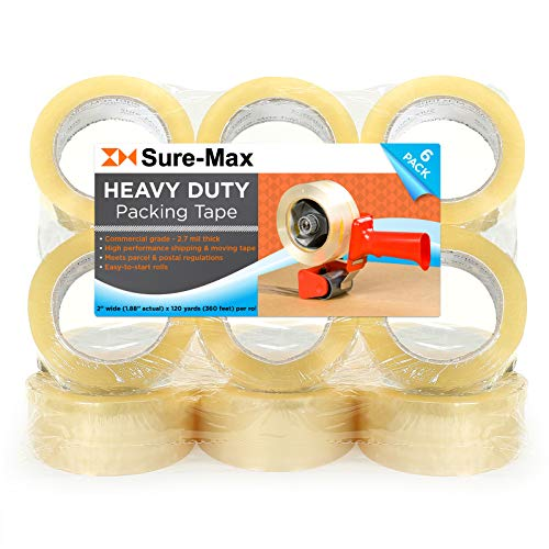 Sure-Max 12 Rolls Heavy-Duty Shipping & Packing Tape (2' x 120 yard/360' Each) - Moving & Adhesive Carton Sealing - 2.7mil Clear
