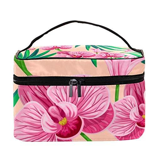 Trousse de maquillage Tropical avec feuilles de palmier et fleurs d'orchidée - Trousse de toilette de voyage avec poignée, pinceaux de maquillage, rouge à lèvres