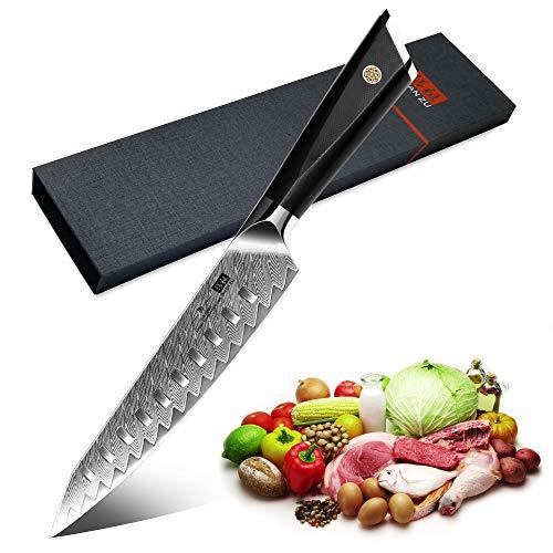 SHAN ZU Cuchillo de Cocina Damasco, Cuchillo de Chef Cuchillos de Trinchar Cuchillo de Cocinero de Acero AUS-10 - GYO Series