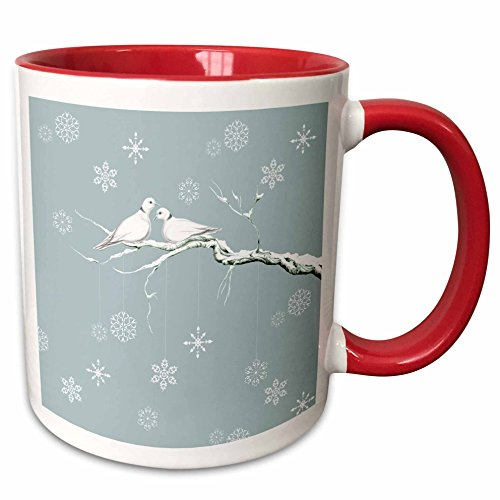 3dRose Two Turtle Doves And Pretty Snowflake Ornaments At Christmas Mug, 11 oz, Red