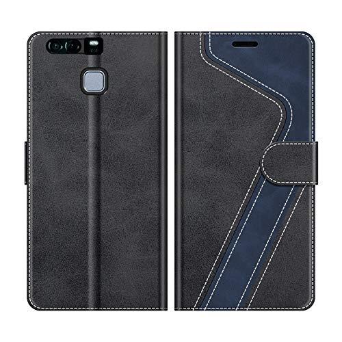 MOBESV Handyhülle für Huawei P9 Plus Hülle Leder, Huawei P9 Plus Klapphülle Handytasche Hülle für Huawei P9 Plus Handy Hüllen, Schwarz
