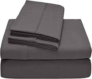 HR Luxury Linen 100% Cotton Split-Top-King (Adjustable King Bed Size Sheets) 300TC, Solid Dark Grey, Sateen Weave, 18 inch Deep Pocket, 4PC Bed Sheet Set