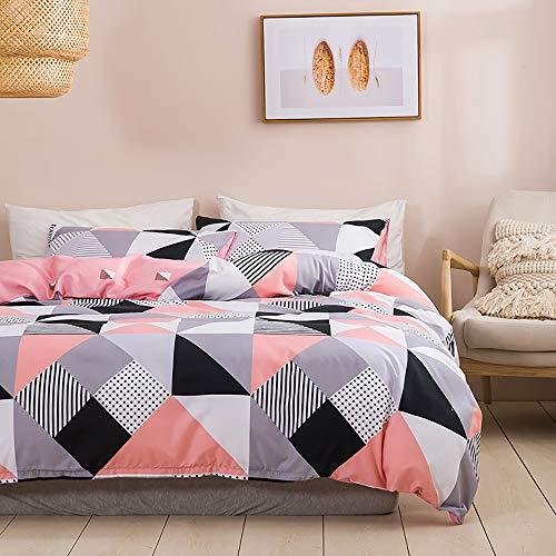 Nitwy - Juego de ropa de cama (200 x 200 cm, 3 piezas, microfibra, diseño geométrico, reversible, con puntos ocultos, cremallera ocultos)