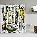 N\A Cortina de Ducha Arte Vegetal Popular Cebolla Col Alcachofas Espárragos Dieta Vegana Concepto de Bienestar Forros de baño Impermeables Ganchos incluidos - Ideas Decorativas para el baño