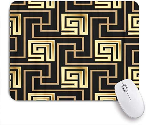 Dekoratives Gaming-Mauspad,Geometrischer Mäander Schwarz und Golden Griechenland Griechische Fliesen Gold,Bürocomputer-Mausmatte mit rutschfester Gummibasis