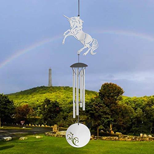 Cozii Windspiele für draußen Große Tiefe Töne, Memorial Windspiele mit 4 Röhren & Haken, für draußen, Garten, Terrasse, Wohnkultur (Unicorn)