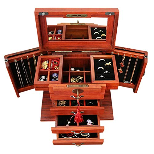 GWFVA Four Layer Wooden Jewelry Box, Retro Black Walnut High Capacity Wood Jewelry Storage Box with Mirror and Lock, Earrings Rings Accessories Display Cabinet