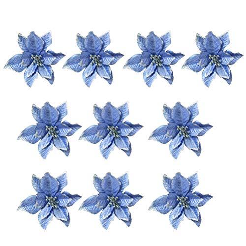BESTOYARD 10pcs Weihnachtsblumen künstliche Glitter Hochzeit Weihnachtsbaum Kränze Dekor Ornament (blau)