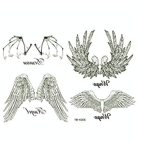 ruofengpuzi Ali d'Angelo Temporaneo Impermeabile Tattoo Sticker Uomini E Donne Collo E Schiena Metallo Braccio del Tatuaggio Tatuaggio