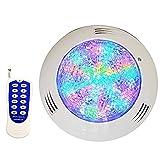 Luz de piscina LED Luz submarina con nuevo control remoto avanzado, superficie de pared montada en la superficie IP68 RGB Colores Cambiando, Control de interruptores o REMOTO, 12V (Size : 25W)