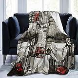 DAOPUDA Soft Fleece Throw Blanket,Élégant Confort de Luxe Impression graphique 3D London Landmark Design,Home Hotel Sofá Cama Sofá Mantas para Parejas Niños Adultos,150x200cm