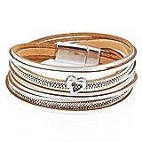 StarAppeal Armband Wickelarmband in Leder mit Herz, Kette und Magnetverschluss Silber, Damen Armband (Silber-Weiß)