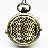 DZNOY Reloj de Bolsillo, Vintage Mate Bronce cáscara giratoria Wind mecánico para Hombres Regalo de Mujer Reloj de Bolsillo (Color : Bronze)