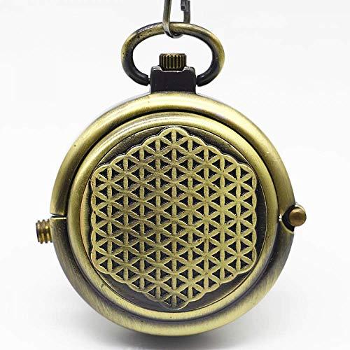 DZNOY Reloj de bolsillo, clásico de bronce mate, giratorio, mecánico, para hombres, mujeres, regalo de bolsillo (color bronce)