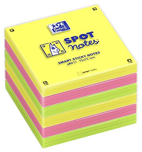 Pack de 6 blocs de notas adhesivas Spot Notes lisas Oxford. 80 Hojas por bloc. Colores surtidos.