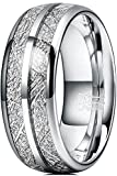 THREE KEYS JEWELRY Mens 8mm Unique Tungsten Hunting Viking Meteorite Carbide Rings Inlay Wedding Band Gifts Bands Rings for Men Silver Size 10.5