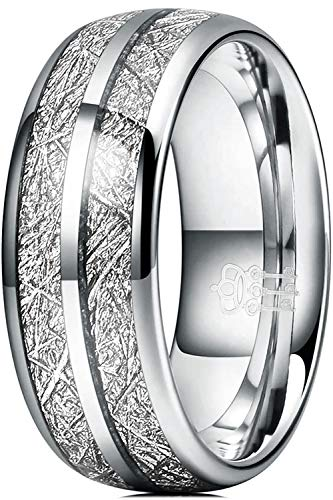 THREE KEYS JEWELRY Men Wedding Hunting 8mm Bands Tungsten Viking Carbide Meteorite Ring with Jewels Polished Infinity Unique for Him Silver Size 10